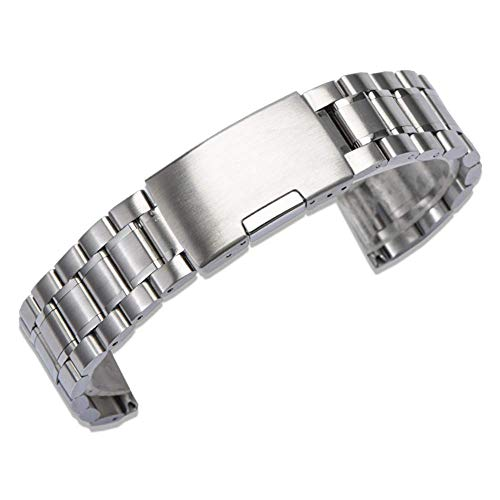 Correa de Reloj Cadena de Reloj de Metal de Acero Inoxidable Estilo Universal Longitud Ajustable Cierre de Cierre Plegable único Cierre rápido, Silvercolor-21mm