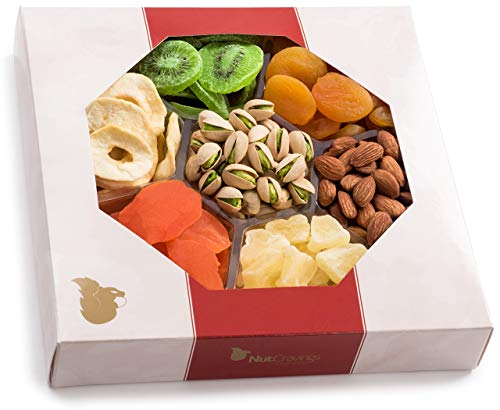 Holiday Extra-Large Dried Fruit and Nut Gift Platter - Holiday Gift Baskets w/7 Different Dried Prime Delivery Fruits & Nuts - Sympathy, Condolence, Birthday, Healthy Gift Box For Any Occasion