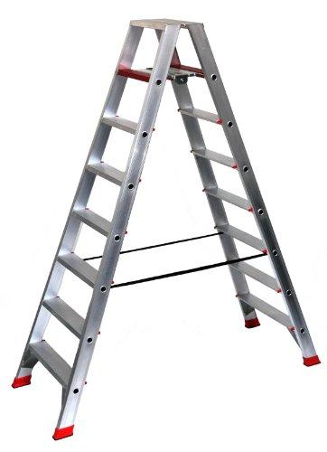 Alu-Profi-Doppelleiter 2x8 Stufen/Sprossen, 221x68x23cm, Aluminium, Marke: Szagato (Stehleiter, Anlegeleiter, Aluleiter, Kombileiter, Leiter)