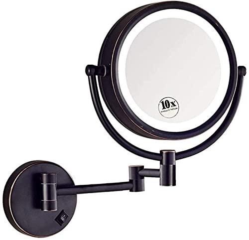 Espejo de maquillaje Espejo de maquillaje con aumento de 10 aumentos, Espejo de afeitar de baño plegable de 8 pulgadas, Espejo de pared de luz extensible para cosméticos Afeitado de doble cara en el