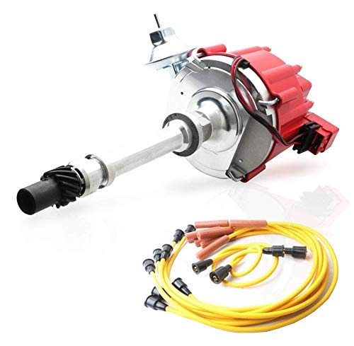 MOSTPLUS Distributor & Spark Plug Wires Ignition Combo Kit Compatible with Chevy SBC 350 BBC 454 HEI 850002 D1002