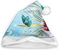クリスマスデコレーション、クリスマスハット、サンタハット、大人のクリスマスホリデーハット、クリスマスと年末年始のユニセックスクリスマスハット-ホワイト-ミディアム