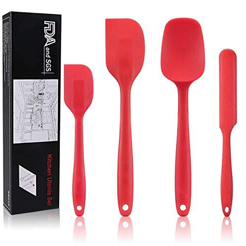 4Pcs Spatola in silicone,Spatola resistente al calore,Set di spatole in silicone,Pasta spatola silicone,Spatola in gomma antiaderente,Grande spatola in silicone,Spatola in silicone antiaderente (rosso