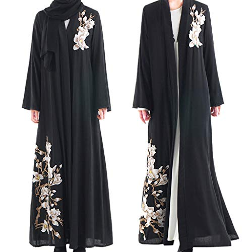 Randolly Womens Dresses,MuslimMaxi Dress Trumpet Sleeve Abaya Long Skirt Robe Gowns Tunic Belt