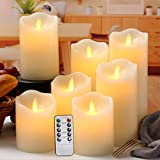 Flameless Candles Flickering Battery Operated LED Candles Set of 7 (D:3' X H:4' 4' 5' 5' 6' 7' 8') Ivory Real Wax Pillar with Moving Flame & 10-Key Remote Control and Cycling 24 Hours Timer