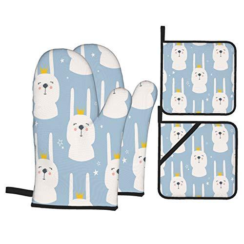 Ofenhandschuhe und Topflappen 4er-Sets,Kaninchen mit Kronen Hand gezeichnete Bunte Maulkörbe von Tieren,Polyester-Grillhandschuhe mit gesteppten,linerbeständigen heißen Pads zum Kochen,Backen,Grillen
