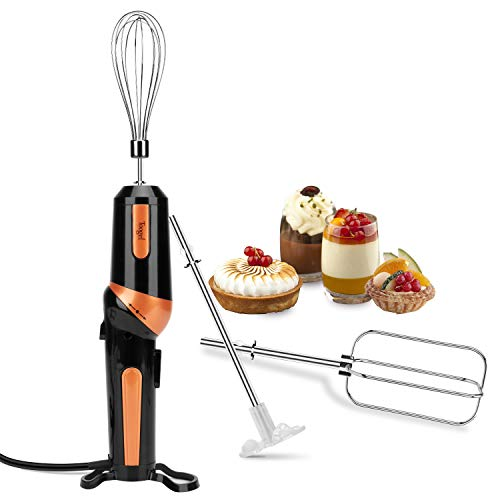 Electric Hand Mixer,Handheld Mixer Egg Beater Set w/AC, Stainless Steel Egg Whisk, BPA-Free Beater, Drink Mixer Attachment, 2 Speed Rotatable Angle Hand Blender Stick Mixer for Coffee Kitchen