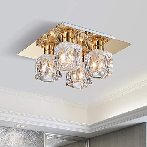 Plafoniera da soffitto a semi-soffitto Saint Mossi Square, Lampadario moderno tonalità di vetro trasparente, finitura placcatura in oro,lampadario soggiorno Larghezza 35cm, Altezza 16cm