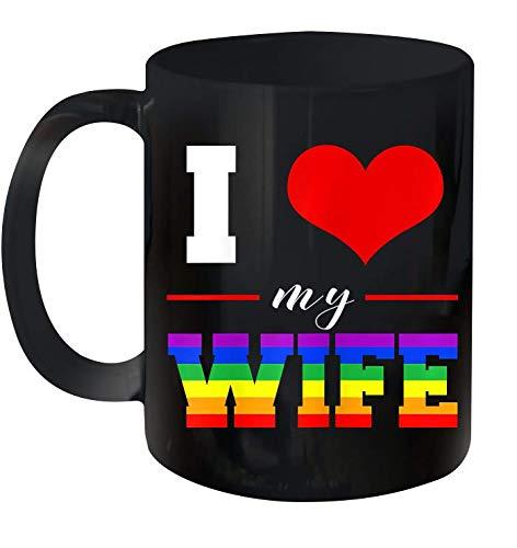Womens I Love My Wife Lgbt Lesbian Gay Pride Rainbow Ceramic Mug 11oz (Black;11oz)