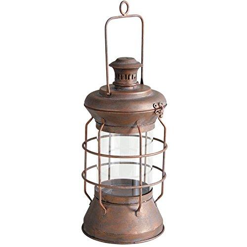 Lanterne ronde en métal cuivré / Lampe tempête