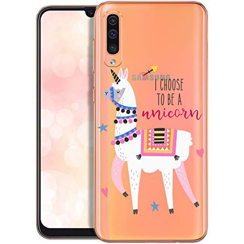 OOH!COLOR Custodia Compatibile con Cover Samsung Galaxy A50 Silicone Trasparente Morbida Chiaro Cristallo Anti-Scratch Bumper Case per Samsung A50 con Disegni Lama Unicorno (MONOUSO)