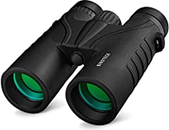 Professional 10 x 42 HD Binoculars with Wide Field of View – Offering 10 x magnification with 42 mm objective lens, wide field of view and 1000-yard range let you look further and wider with HD clarity suitable for both indoor and outdoor activities ...
