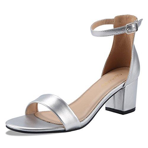 Qimaoo Damen Pumps 7cm High Heels Elegant Abendschuhe Sandalen Sommer Schuhe mit Absatz, Gr.- 37 EU, Silber-klassisch