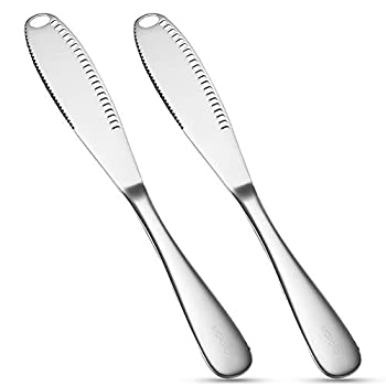 SFOPORD 2 Pack Stainless Steel Butter Spreader Knife Multi-Function Butter Spreader and Grater with Serrated Edge & Ergonomic Handle 3 in 1 Kitchen Gadgets for Breakfast Butter Cheese Jams ,Jelly and Condiments