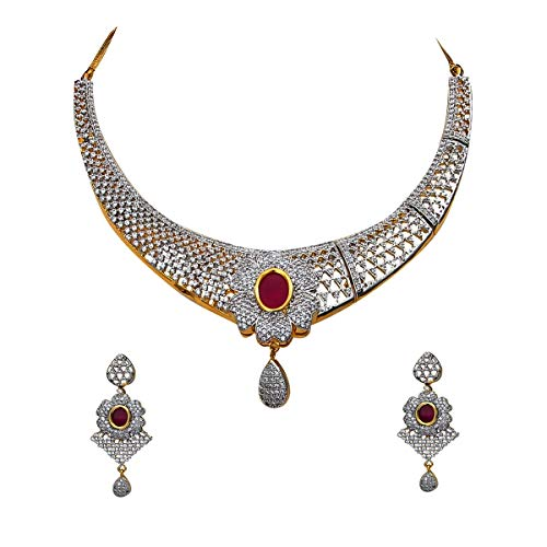 SURYAGEMS Floral Design Necklace with Drop Earring for Women Girls Pink CZ Ruby Design Chokar Jewellery Set Gold & Silver Plated Chain Haar Haram Multipurpose Jewellery for Womens MN 48-Pink