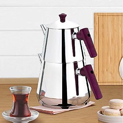 Turkish Tea Pots for Stove Top, Stainless Steel Turkish Teapot Set, Samovar Style Self-Strained Tea Kettle Pot (MEDIUM)
