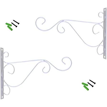 Pack of 2 Iron Wall Mount Plant Hanging Hooks Metal Wall Brackets Hangers for Planter Bird Feeder Lanterns Wind Chimes Outdoor Decoration Hooks with Screws (White)