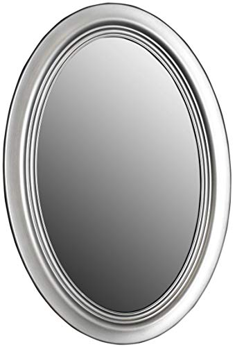 Mirrors and More Wellsandra Brushed Nickel Framed Oval Non Bevel Bath Mirror|(3) -