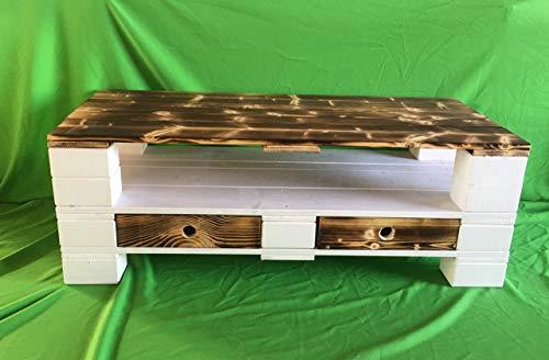 Palettenmöbel ~ Sideboard ~ Massivholzpaletten ~ geflammt/weiß lasiert ~ Möbel- oder Europaletten