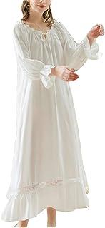 Women Ruffle Drawstring Nightdress Vintage Victorian Lace Patch Flowy Nightgown Pyjamas Lounge Dress Nightie Nightwear Lon...
