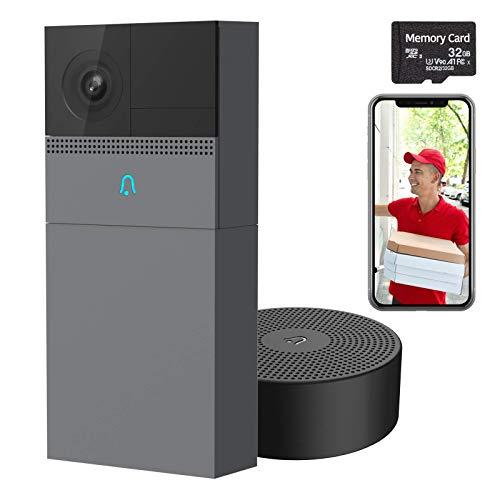 LAXIHUB WiFi Türklingel mit FHD Kamera, B1 Türsprechanlage mit aufladbarem Akku für Sicherheit mit 32GB SD-Karte, Bewegungserkennung, 2-Wege-Audio, Nachtsicht, wasserdicht - funktioniert mit Alexa