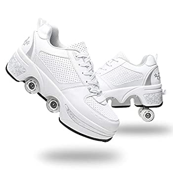 YOUSIOI Casual Roller Skates for Girls/Women Deformation Parkour Shoes Invisible Four Rounds of Running Shoes Roller Skates Outdoor Sports Kick Rollershoes  White Silver US-8.75/39.5