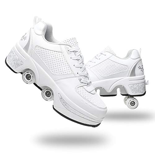 YOUSIOI Roller Skates for Women 4 Wheel Adjustable Quad Roller Skates Boots, 2-in-1 Skates Roller as Pulley Shoes and Comfortable Sports Shoes Unisex Waterproof Walking Shoes (White Silver, US-8/38)