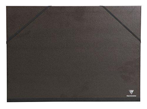 Clairefontaine 44850C - Cartellina per disegni Kraft Verge, con rivestimento in gomma, colore: Nero