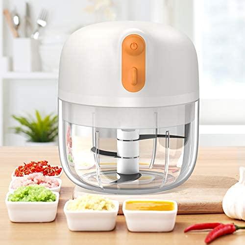 Mini picador eléctrico de ajo, [60w Quick Facilidad chop] Alimentos Vegetales Chopper 250ml bpa libre para pimienta ajo Chili..