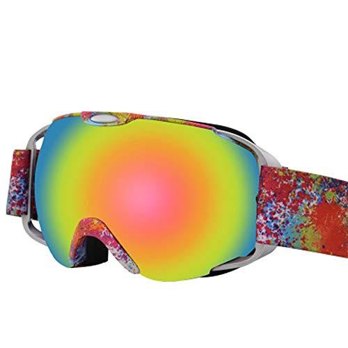 AUEDC OTG Skibrille, Männer und Frauen Ski Snowboard Goggles Skibrille UV-Schutz Winddichtes Anti-Fog-Doppelobjektiv für Männer & Frauen Outdoor Sports Erwachsene,Rot