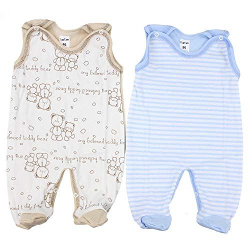 TupTam Unisex Baby Strampler Baumwolle Gemustert 2er Set, Farbe: Farbenmix 4, Größe: 68