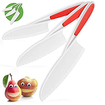 Zulay Kids Knife Set for Cooking and Cutting Fruits, Veggies, Sandwiches & Cake - Perfect Starter Knife Set for Little Hands in the Kitchen - 3-Piece Nylon Knife for Kids - Fun & Safe Lettuce Knife