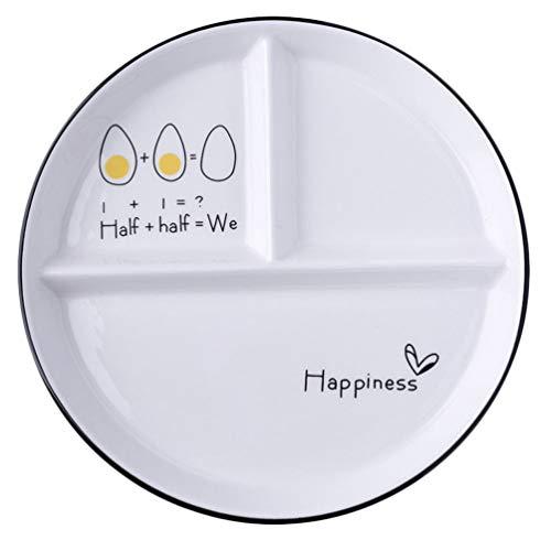 Cabilock Keramik Geteilte Teller Porzellan Mittagessen Teller Salatschale 3 Schnitt Essen Servierteller Tabletts für Kinder Fütterung Hochzeit Weihnachtsfeier Liefert Zufälligen Stil