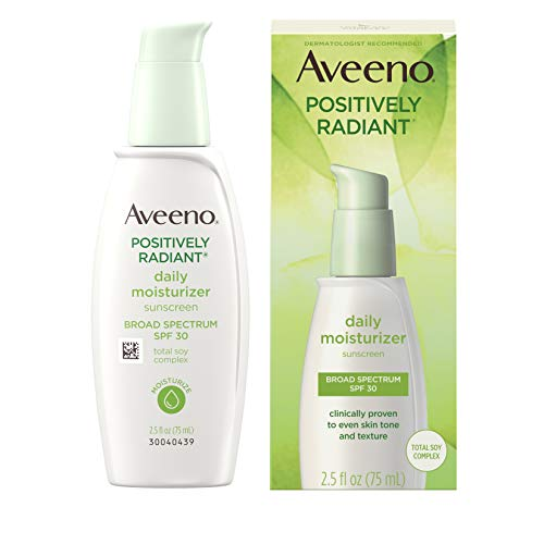 Aveeno Positively Radiant Daily Facial Moisturizer with Broad Spectrum SPF 30 Sunscreen & Total Soy...
