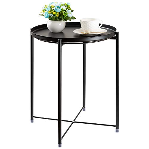 CERBIOR Tray End Table, Round Metal Tray Table Side Sofa Table Anti-Rust and Waterproof Outdoor & Indoor Snack Table Accent Coffee Table Black