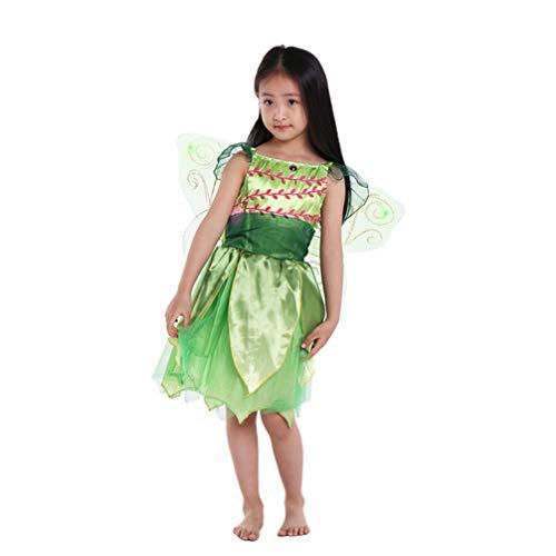 Holibanna Kinder Fee Kostüm Tutu Rock mit Flügel Blumenfee Cosplay Zubehör für Kinder Mädchen 7-8 Jahre alt Halloween - Grün 70cm