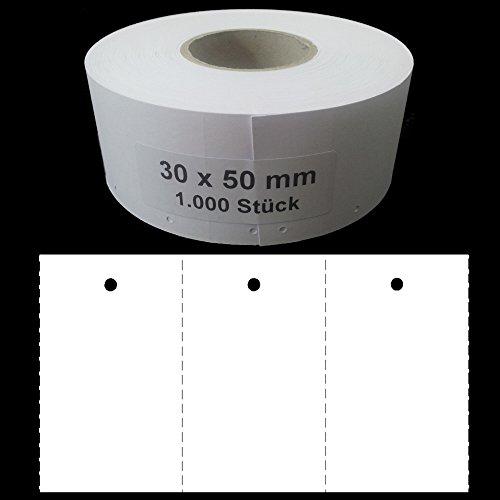 1.000 Endlosetiketten 30x50mm blanko Kartonetiketten mit 3mm Lochung auf Rolle Preisetiketten Hängeetiketten Etiketten