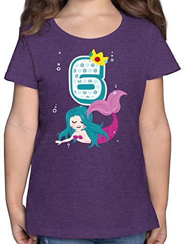 Kindergeburtstag Geschenk - Meerjungfrau 6. Geburtstag - 116 (5/6 Jahre) - Lila Meliert - meerjungfrau Shirt mädchen - F131K - Mädchen Kinder T-Shirt