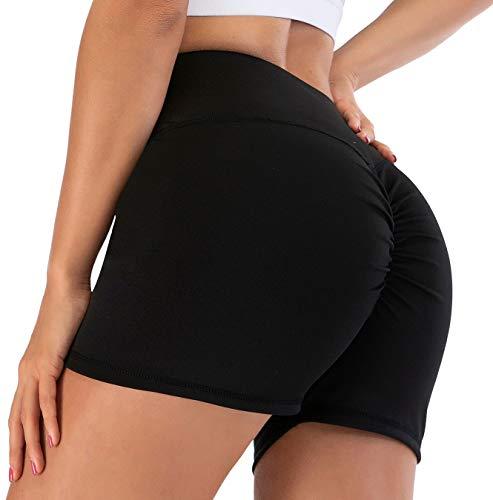 CheChury Las mujeres deporte pantalones calientes de cintura alta control de barriga bragas fruncido Scrunch Hip Lift Yoga Shorts