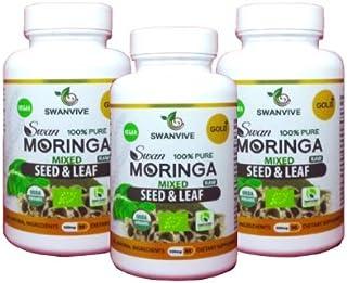 Sponsored Ad - Moringa Organic Mix Seed and Leaf Powder(3-Pack) - Two Benefits one Capsule -Vegetarian Caps - Green Superfood