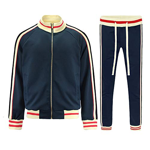 G-Style USA Men's G Track Suit Set ST5014-577 - Navy - Small - I7A