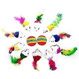 Nincee Little Paws - 10 juguetes para gatos y gatos de peluche y 2 bolas de espuma suave para arco iris, juguete para cachorros y cachorros, ratones de entrenamiento para colas de plumas