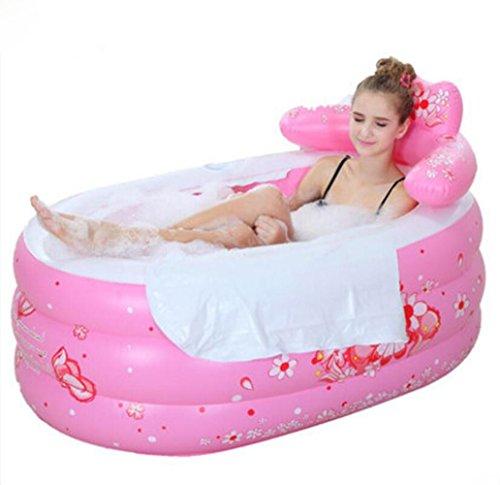 OOFWY Bañera de hidromasaje Espesado Inflable para Adultos Plegable Baño Barril de plástico Bañera Baño Barriles Barriles de baño, B