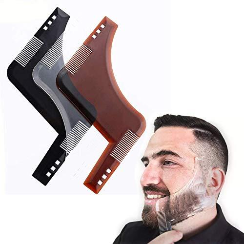 Herramienta de barba de plástico para moldear, herramientas antideslizantes y portátiles para modelar barba para hombres, para cantos, bigote, cuello de pelo facial, barba de cabra. (3 piezas)