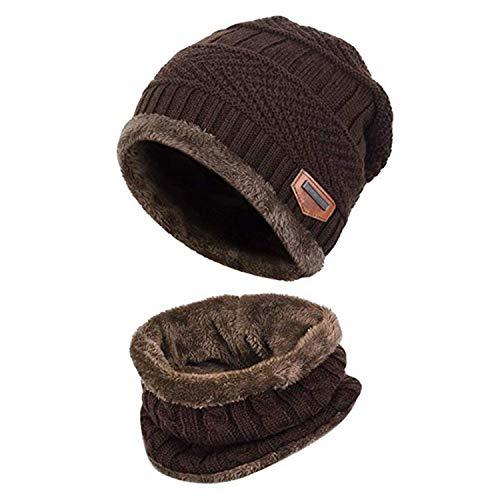Bonnet Chapeau Tricot, Hiver Chauffant Bonnet Tricot avec Écharpe de Doublure Polaire, Hiver Chapeau Beanie pour Homme Unisexe Femme, Café, Taille unique