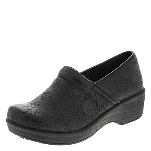 safeTstep Slip Resistant Women's Embossed Black Paisley Women's Gretchen Clog 9.5 Regular