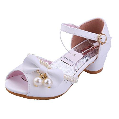 Sandali Bambina Ballerine Scarpe Ragazza Principessa Costume - Tyidalin Perline Eleganti Compleanno Cerimonia Festival Primavera per Bambini Bianco EU27
