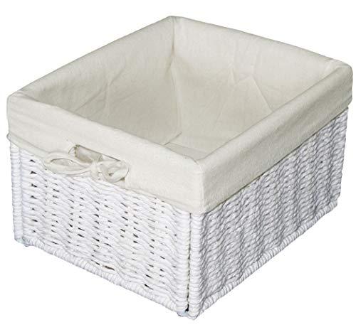 KMH®, Pratico Cesto Contenitore in Materiale Simil-Rattan (Bianco con Fodera Interna Bianco) (#204039)