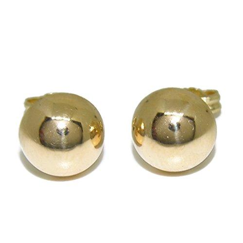 Pendientes media bola muy grande de oro amarillo brillo de 18k y 16mm de diámetro. Cierre omega. Peso, 4.50 gr de oro de 18k.
