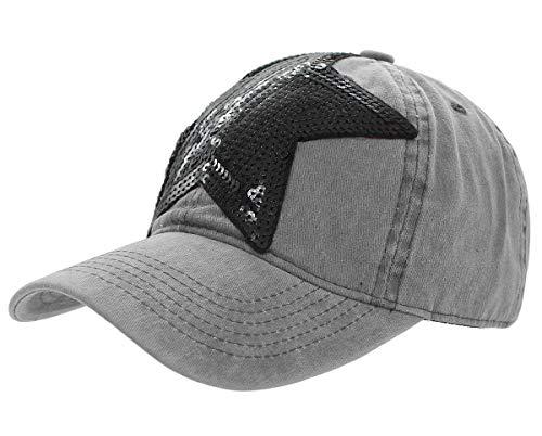 dy_mode Damen Kappe Basecap Baseball Cap Mütze Schirmmütze mit Pailletten Stern - K100 (K100-Hellgrau)